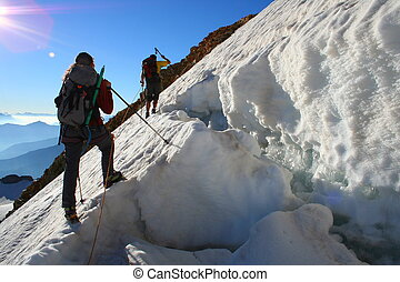 team ascent - Team in action. Glacier of the Etendard peak -...