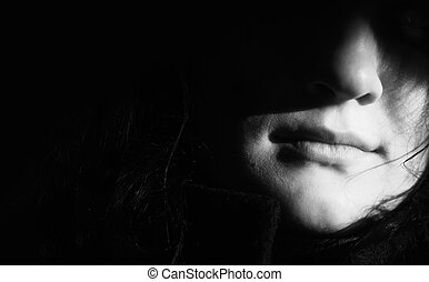 girl in shadow - empty space for your text(special photo...