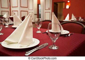 Restaurant Serve table with dinner set Novosibirsk, november...