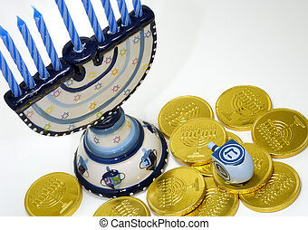 Chanukah - Photo of Various Chanukah Related Objects -...