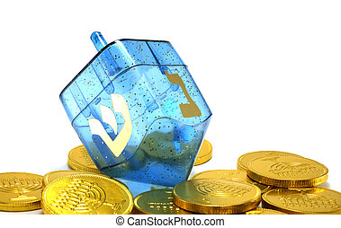 Dreidel - Photo of a Dreidel and Gelt Candy Coins - Chanukah...