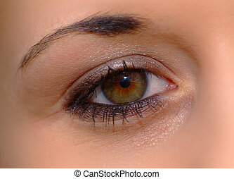 open eye - eye of a woman with brown iris