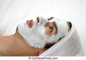 Cleansing mask - someone having a cleansing mask