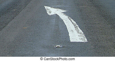 changing line - white arrow on street