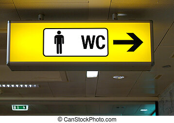 restrooms - yellow board with pictorgam for men