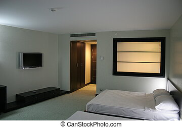 Oriental Hotel Room - An oriental style hotel room with two...