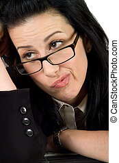 What Now - Business woman wearing glasses thinking or...