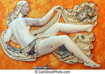 Fresco - Ancient marble fresco of the woman. Picture taken...