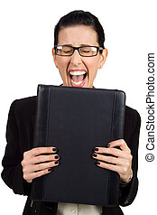 Had Enough - Female holding black briefcase screaming