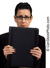 Troubles - Female holding briefcase looking troubled