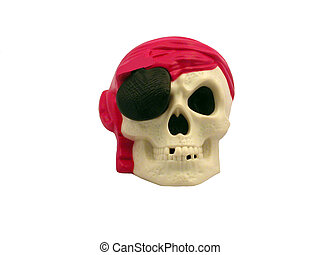 Pirate Skull - A pirate skull wearing a red bandana and a...