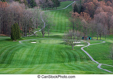 Autumn Golf - beautiful golf course in southeast ohio during...