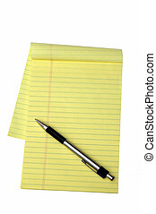 Yellow Notepad and a Pen - Yellow notepad and a pen isolated...