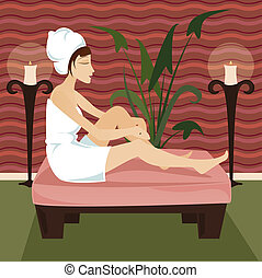 Relax Spa - Woman in towel relaxes at a luxurious spa...