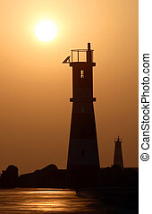 Lighthouses in Aveiro (Portugal) during the sunset