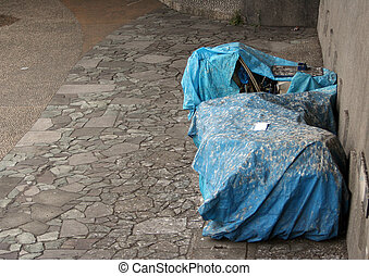 Homeless\\\' tent by the river. Picture taken in Tokyo /...