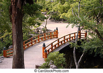 Japanese garden - Bridge in the japanese-style garden...