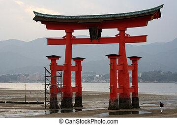 Miyajima tori - Entrance to the temple in Miyajima island...
