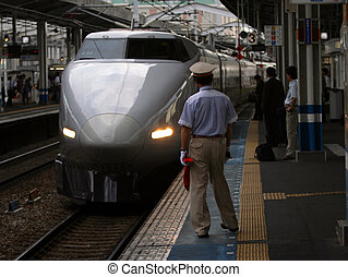 Shinkansen. Bullet train at the  station in Japan