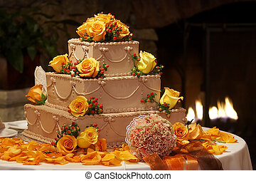 Fancy wedding cake - A chocolate wedding cake surrounded by...