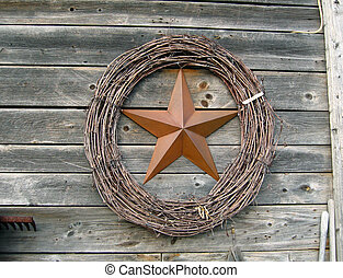 Copper Star With Wre - copper star inside wreath hung on...