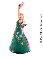 dancing with fans - lady in green dress dancing with fans...