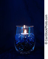 Blue Candle Vase - Glass vase with