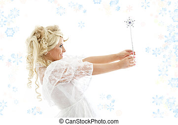 fairy with magic wand and snowflakes - fairy with magic wand...