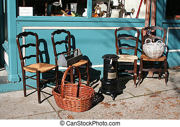 Antiques for Sale - Antiques displayed outside in front of...