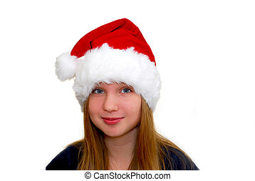 Chrismas girl - Portrait of a young girl wearing Santa\\\'s...