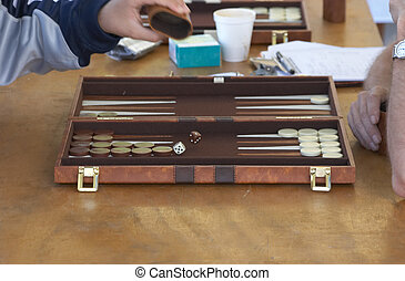 Backgammon - Rolling the dice in a backgammon game