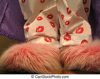 fuzzy pink slippers and red lip pajamas