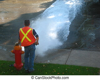 fire hydrant test - testing water pressure on fire hydrant