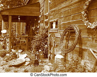 naturally country tea house in a barn in sepia