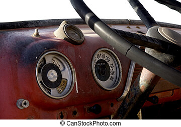 old truck dashboard - dashboard of an old abandoned truck