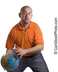 Man with globe - Man holding globe of world on white...