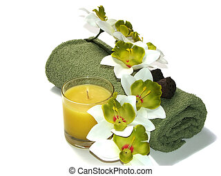 Green Orchid - white-green orchid, green towel, and candle...