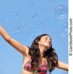 niña, burbujas