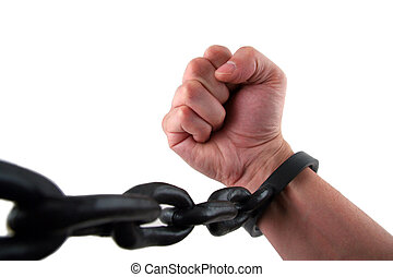 Fight the Power - Male Hand with Fist Chained to Linked...