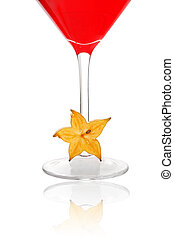 Starfruit Cocktail - Red cocktail over white with starfruit...