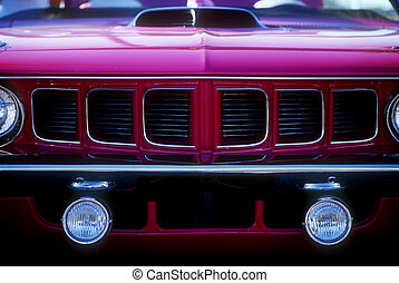 Grille of Purple Muscle Car - Grille and hood scoop of...