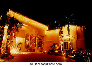 Christmas Decorated Carport - Large carport on Spanish-style...