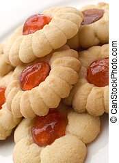 cookies filled with marmelade close up shoot