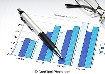 Chart - annual report chart with pen and glasses