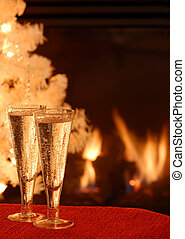 Champagne Toast - Two glasses of champagne wine in front of...