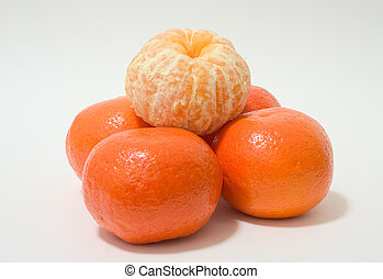 Peeled Tangerine on white background