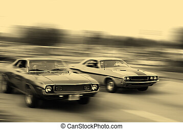 MUSCLE CAR CRUISE - Muscle cars cruising on historic...