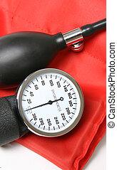 Sphygmomanometer - Guage, pump and cuff closeup