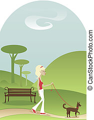 Tranquil Walk - Woman taking her dog for a tranquil walk...