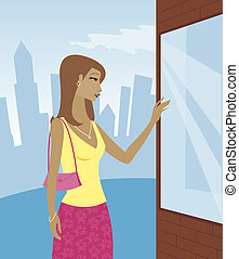 Window Shopping - Day - Woman in the city, browsing and...